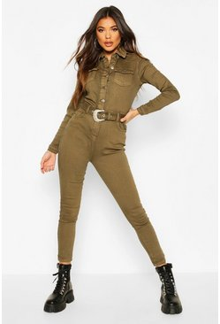 Khaki Western Buckle Denim Boiler Suit