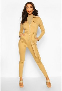 Zip Front Denim Boiler Suit, Camel, Donna