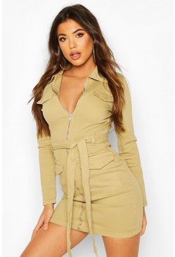 Womens Camel Denim Utility Belted Dress