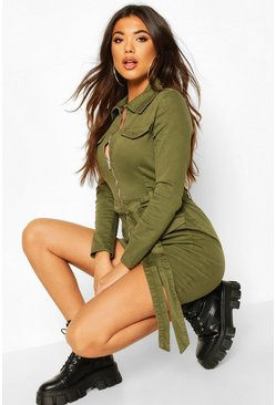Denim Utility Belted Dress, Khaki