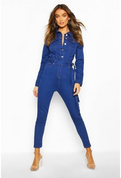 Button Front Denim Boiler Suit, Bright blue
