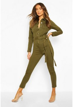 Button Front Denim Boiler Suit, Khaki