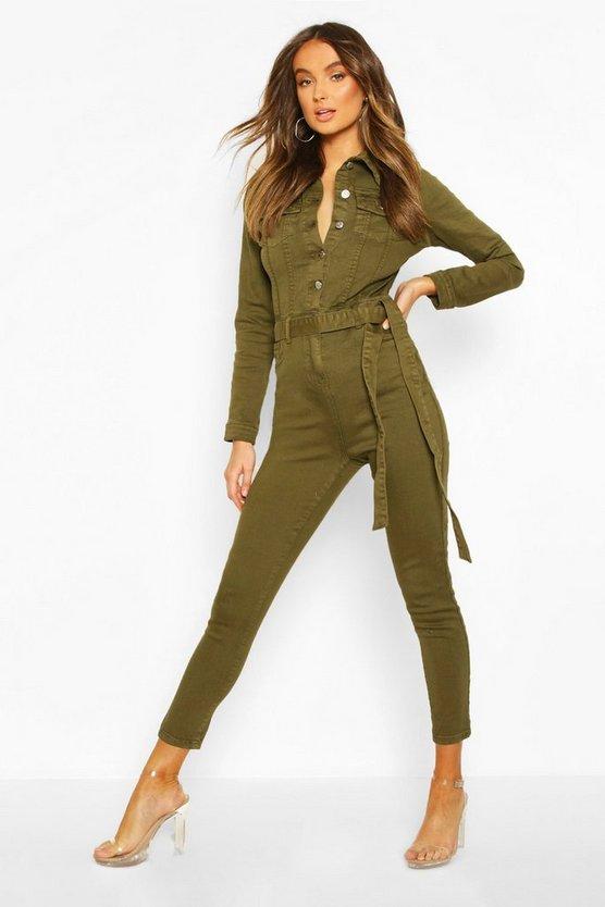 Button Front Denim Boiler Suit