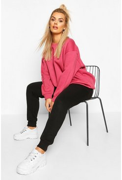 Plus Basic Oversized Boyfriend Sweat, Rose, MUJER