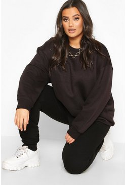 Plus Basic Oversized Boyfriend Sweat, Black