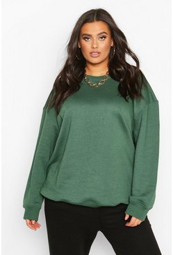 Womens Khaki Plus Basic Oversized Boyfriend Sweat