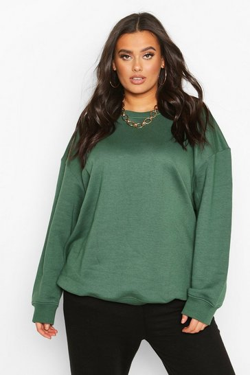 Khaki Plus Basic Oversized Boyfriend Sweat