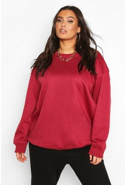 Wine Plus Basic Oversized Boyfriend Sweat