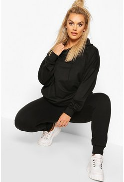 Plus Basic Extreme Oversized Hoody, Black, FEMMES