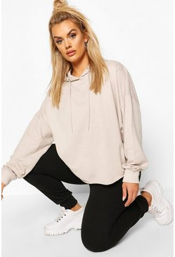 Plus Basic Extreme Oversized Hoody, Ecru, Donna