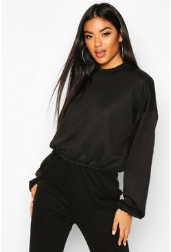 Black The Basic High Neck Crop Sweat