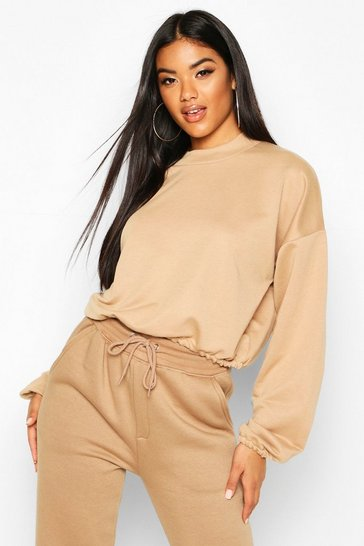Womens Camel The Basic High Neck Crop Sweat