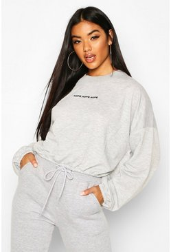 Micro Print High Neck Sweat, Grey marl