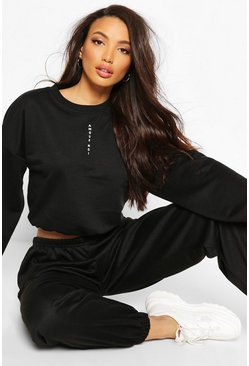 Black Micro Print Scoop Neck Crop Sweat
