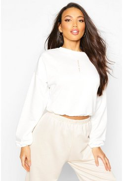 Ecru Micro Print Scoop Neck Crop Sweat