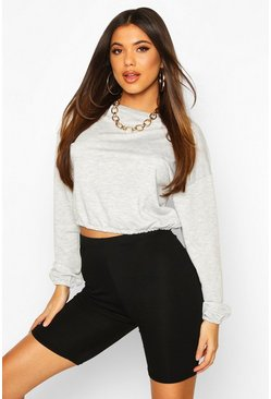 Grey marl The Basic Crew Neck Crop Sweat