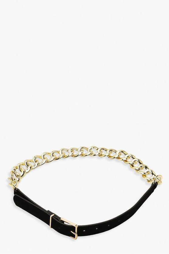 Suedette & Chain Detail Buckle Belt