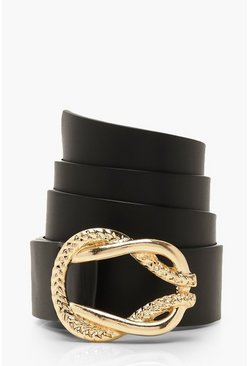 Dam Black Gold Rope & Metal Detail Belt