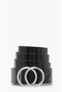 Womens Black Patent Double Ring Belt