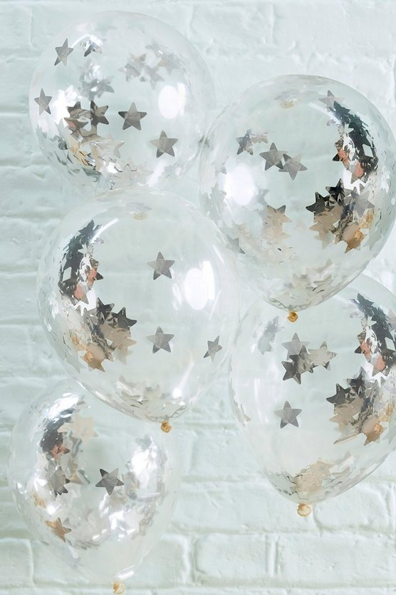 Silver 5 Pack Star Confetti Balloons