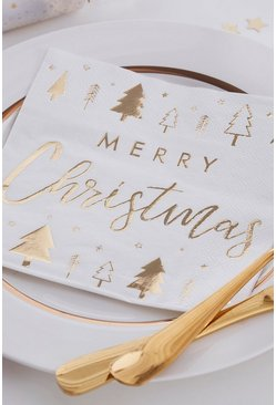 16 Pack Merry Christmas Napkins, Gold, FEMMES