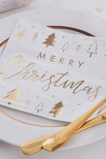 Womens Gold Ginger Ray 16 Pack Merry Christmas Napkins