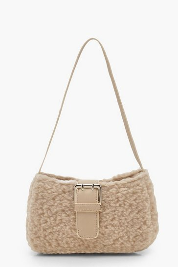 Womens Beige Borg Baguette Bag