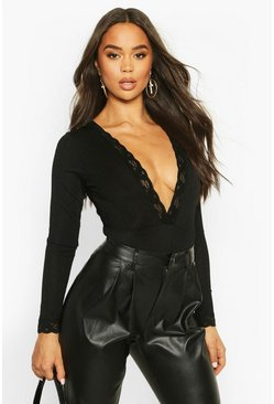 Deep V Lace Trim Long Sleeve Slinky Rib Body, Black, DAMEN