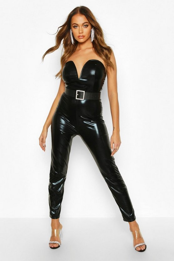 Black PU V Bar Skinny Jumpsuit