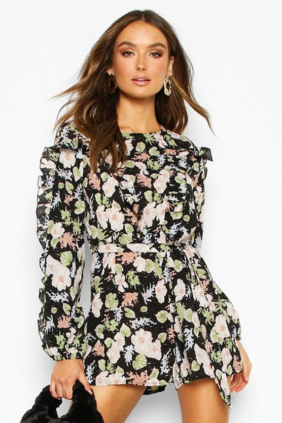 Womens Black Floral Ruffle Tie Waist Playsuit