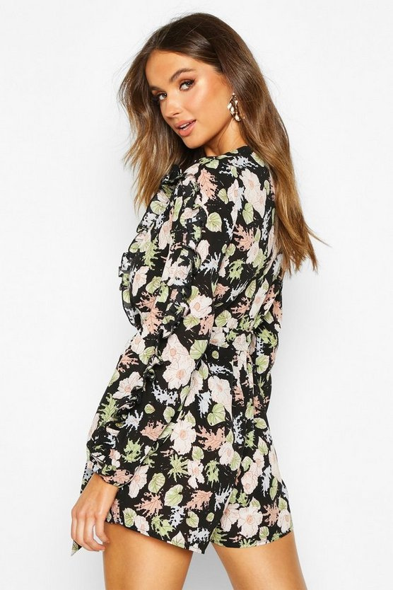 Floral Ruffle Tie Waist Playsuit