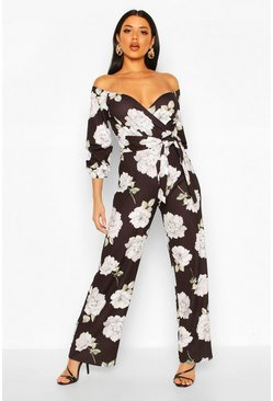 Off The Shoulder Floral Wide Leg Jumpsuit, Black