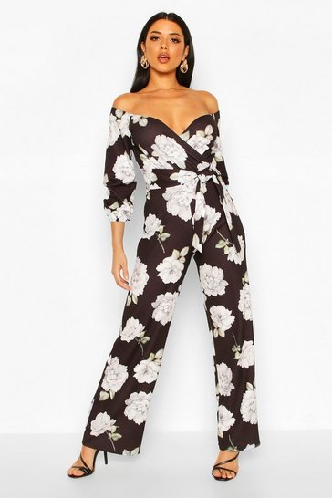 Womens Black Off The Shoulder Floral Wide Leg Jumpsuit