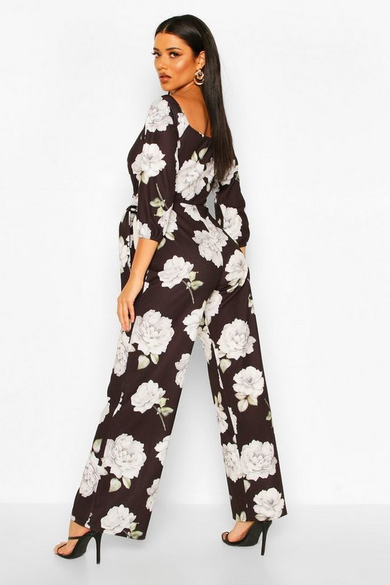 Off The Shoulder Floral Wide Leg Jumpsuit