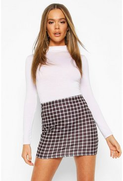 Womens Black Mono Grid Check Basic Mini Skirt