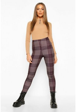 Womens Black Checked Basic Jersey Leggings