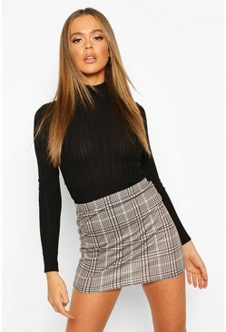 Tonal Check Basic Jersey Mini Skirt, Sand