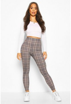 Womens Sand Tonal Check Basic Jersey Leggings