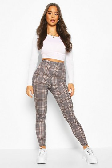 Sand Tonal Check Basic Jersey Leggings
