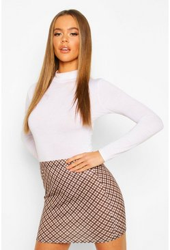 Womens Tan Tonal Check Basic Jersey Mini Skirt