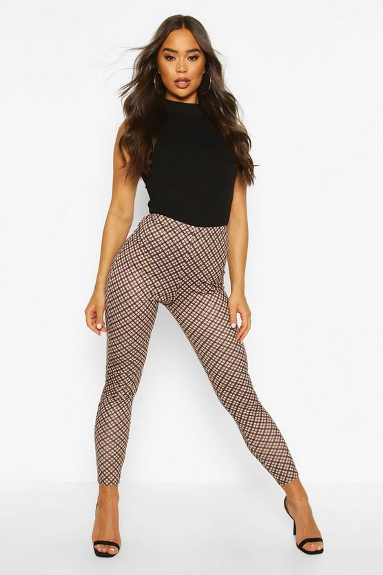Tan Tonal Check Basic Jersey Leggings