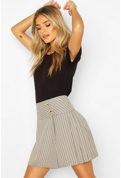 Tonal Check Pleated Kilt Mini Skirt, Black