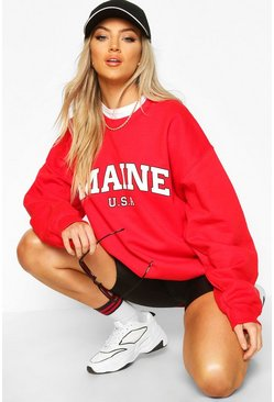 Maine Slogan Extreme Oversized Sweat, Red