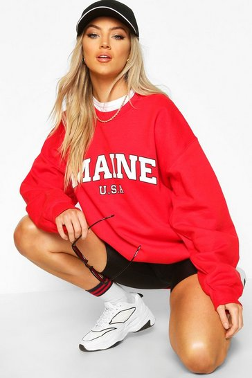 Womens Red Maine Slogan Extreme Oversized Sweat