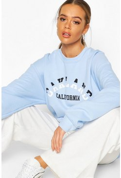 Womens Blue California Slogan Extreme Oversized Shirt