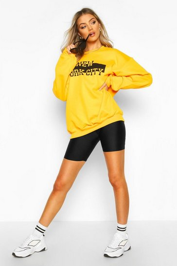 Womens Yellow NYC Slogan Extreme Oversize Sweat