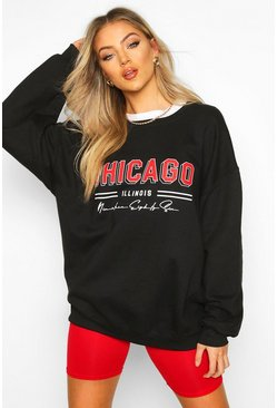 Chicago Slogan Extreme Oversize Sweat, Black, ЖЕНСКОЕ