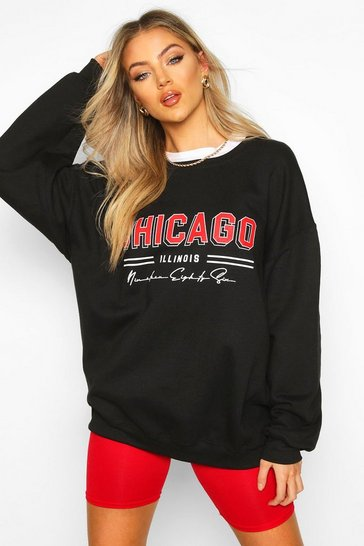 Womens Black Chicago Slogan Extreme Oversize Sweat