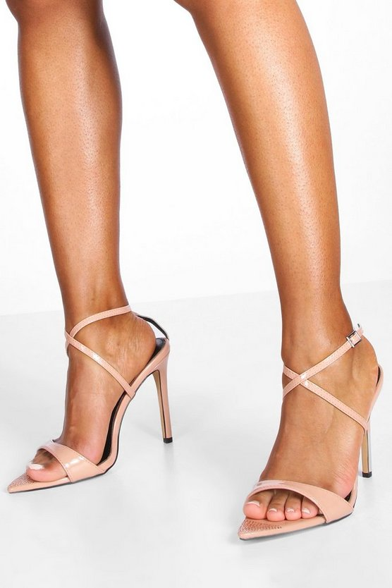 Womens Nude Diamante Pointed Toe Strappy Heels
