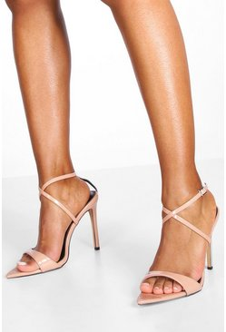 Nude Diamante Pointed Toe Strappy Heels